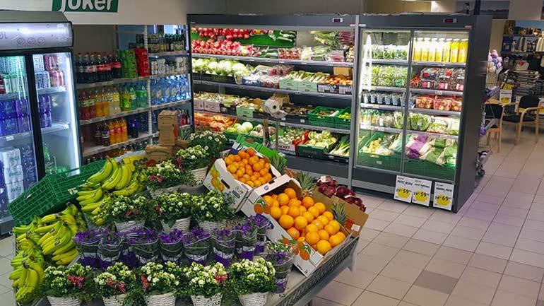 grønnsaksdisk på butikk