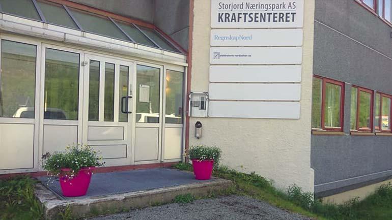 Inngangsparti av kontorbygg